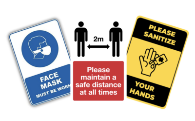 Covid warning stickers